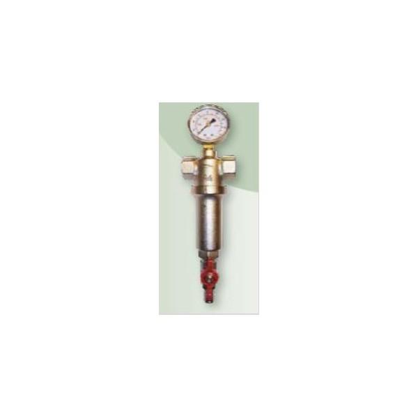 """brh 229  3/4"""" fémházas átöblíthető vízszűrő nyomásmérővel"""