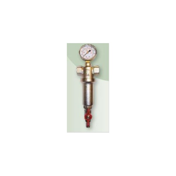 """brh 586  1"""" fémházas átöblíthető vízszűrő nyomásmérővel"""