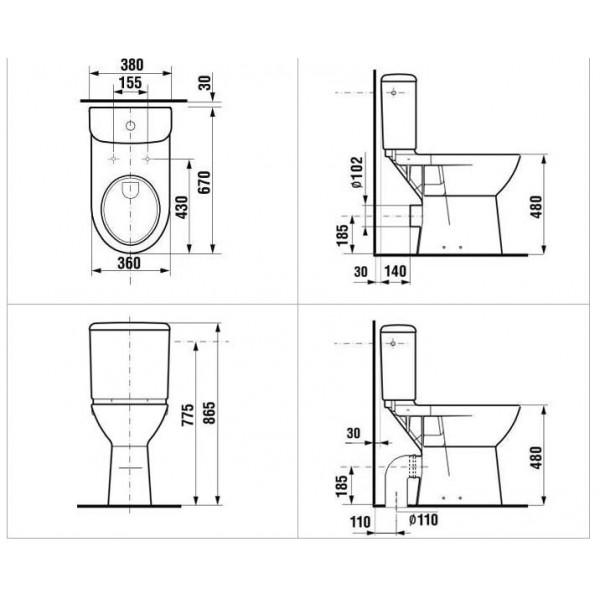 Mozgássérült wc, magasított,monoblock