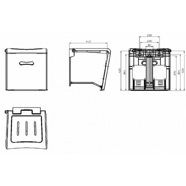 Mozgáskorlátozott  zuhanyülés 45 x 45 x 45-55 cm