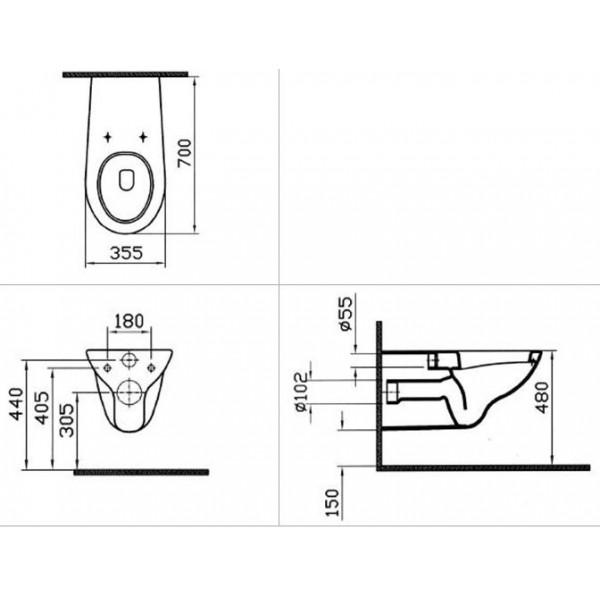 Mozgássérült wc, fali 70cm kinyúlás