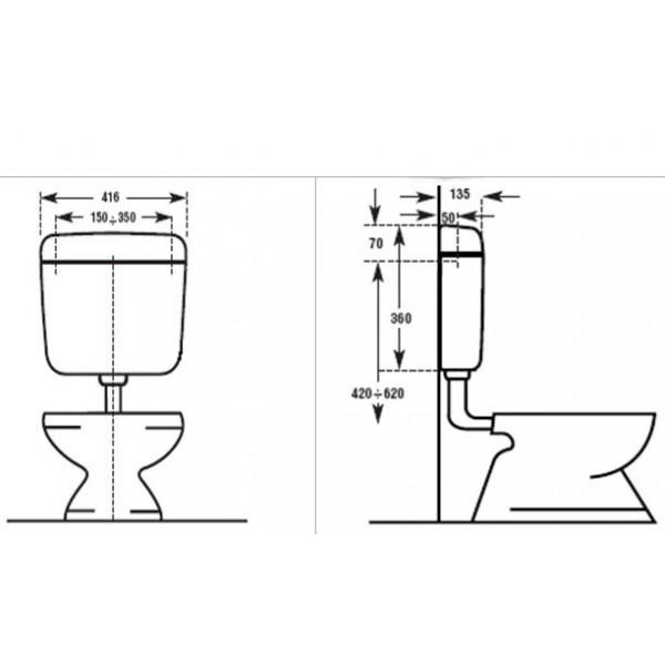 Wc öblítő tartály pneumatikus kezelővel